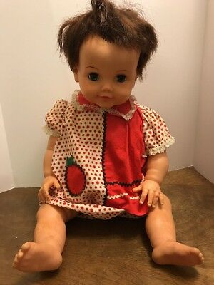 """Ideal Toy Corp 22"""" Doll Betsy Wetsy? Sleepy Eyes Blue Eyes Brown Hair"""