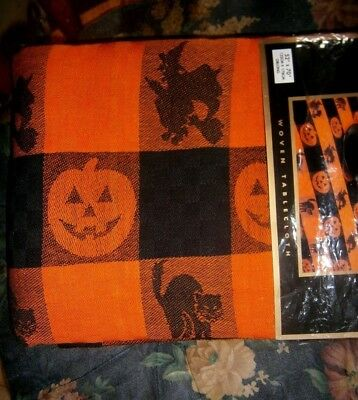 vtg Halloween tablecloth MIP new Spooky Hollow black cat witch pumpkin