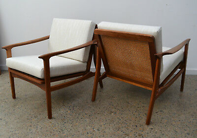 retro, vintage, Pair of MID CENTURY ARMCHAIRS, parker era, danish style