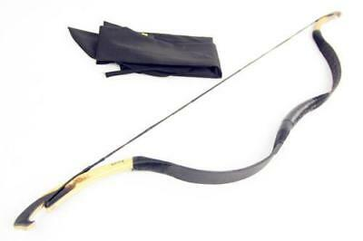 10-40lbs Pure Handmade Mini Bow Black Cow Leather Longbow For Archery Hunting
