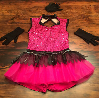 Halloween Costume, Pink Girls Jazz Dance Costume, childrens size large