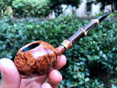 Road Town pipe,Briar wood Big Tomato Bamboo Style---- unsmoked