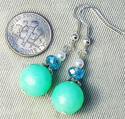 Faceted Mint Jade Pearl Aqua Crystal Earrings 1.6 inches long . FREE SHIP