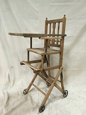 c.1920's Antique High Chair / Pram with Stable Tray - Working Order - UNIQUE!!