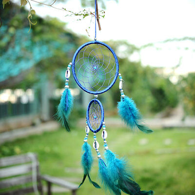 Car Blue Dream Catcher Circular With feather Wall Hanging Decoration Gift Shell