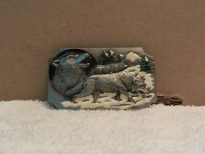 Snow Wolf Belt Buckle Vintage 1991 USA Arroyo Grande Collector