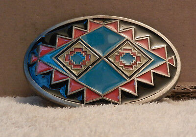 Vintage Belt Buckle Native American Indian Tribal Pattern US 1993