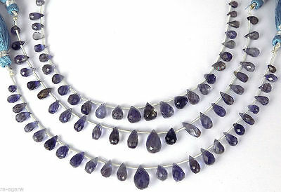 "1 Strand Natural Iolite Briolette Drops Shape 3x5-6x8mm Gemstone 7"" Long Strand"