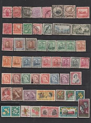 74 Individual Different Used Stamps from New Zealand. Early Issues See Photos.