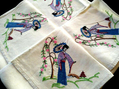 Gorgeous Geisha Ladies/Japanese ~ Hand embroidered Tablecloth