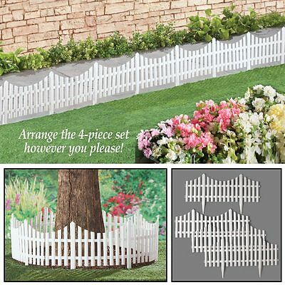 Set of 4 Flexible White Picket Fence Outdoor Garden Border Edging