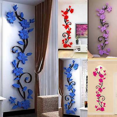 3D Removable Flower DIY Wall Sticker Vinyl Quote Decal Art Home Room Decor Mural