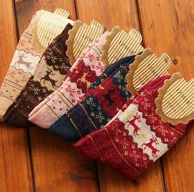 Women Winter Socks Xmas Gift Warm Wool Sock Cute Snowflake Deer Comfortable