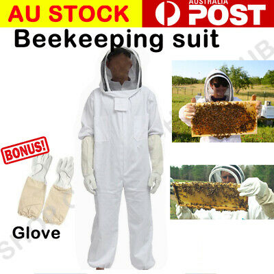 Beekeeping Veil Bee Keeping FULL BODY Suit with Leather Ventilated Keeping Glove