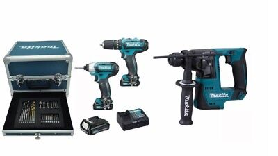 Makita Kit Cartongesso 2 Avvitatori + Tassellatore + 3 Batterie  10,8V Litio