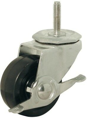 New 3-inch Rubber Wheel Threaded Stem Brake Swivel Caster 150 lb. Load Rating