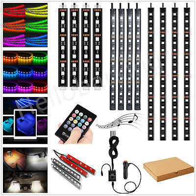 4PCS 9 12 18 LED Car Interior Strip Lights RGB Remote Control Footwell Lamp hhbb