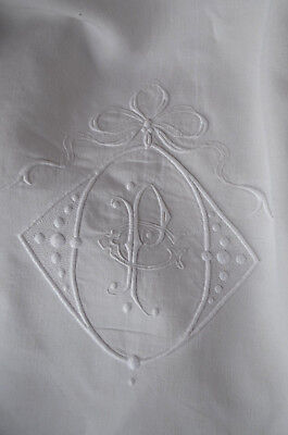"""Antique French pure linen sheet, hand embroided PC monogram and bow, 96"""" wide"""