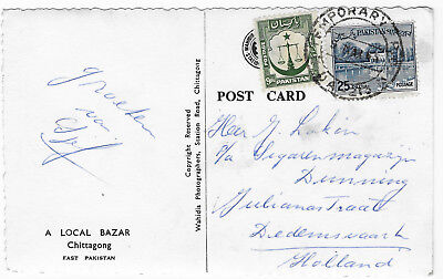 Pakistan 1965 TEMPORARY PO postmark on Postcard to Netherlands Chittagong market