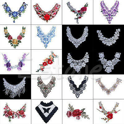 Lace Embroidered Floral Neckline Neck Collar Trim Clothes Sewing Applique 1PC
