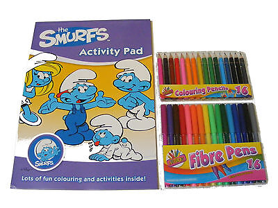 THE SMURFS color / Para Colorear Actividad Libreta & 16 Rotuladores & 16 Lápices