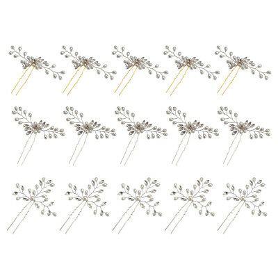 5x Wedding Pearl Bead Pins Bridal Diamante Flower Clips for Bride and Bridesmaid