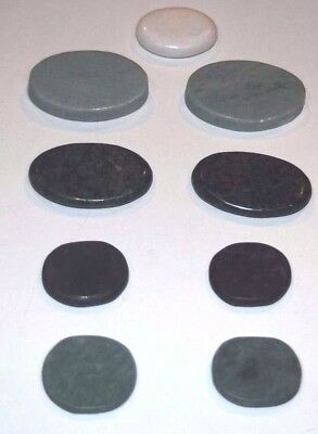 Set of 9 Facial Hot / Cold Massage Stones (Basalt + Jade) Kit