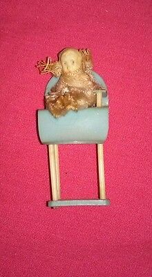 Antique Celluloid and Pipe Cleaner Miniature Dollhouse Doll in Highchair