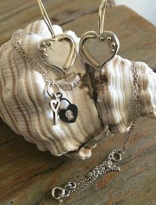 925 Silver Bulk Buy! Handmade Heart Earrings & Gorgeous Necklace PERFECT GIFT