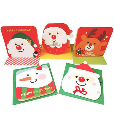 3PCS Merry ChristmaS Paper Greeting Card With Envelope Writing Paper Gift Card