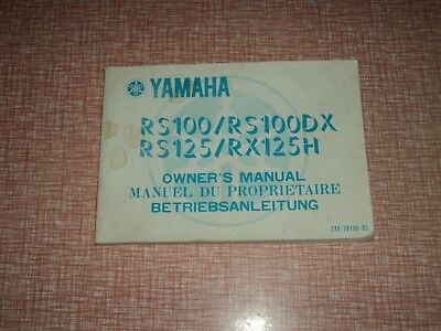Yamaha RS100 / RS100DX  RS125 / RX125H  Owners Manual