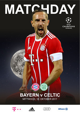 Programme Bayern v Celtic Glasgow Scotland 2017 Champions League. Unofficial