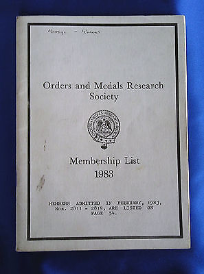 The Orders and Medals Research Society Membership Handbook 1983