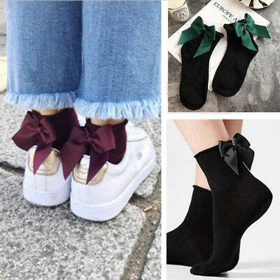 Women Fashion Cotton Socks with Big Bow Solid Casual Short Socks Cute BowKnot