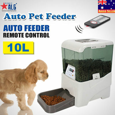 Automatic Program Pet Feeder Remote Control  Digital Cat Dog  Food Dispenser 10L