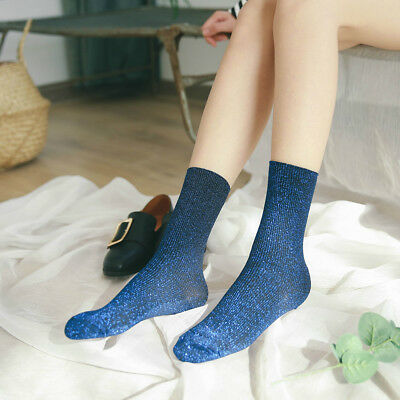 Hot Spring Autumn Women Glitter Socks Silver Silk Shiny Socks Bright Tube Socks