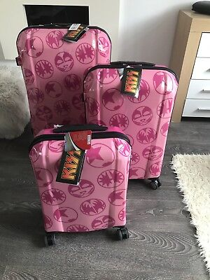 Set Of 3 Kiss Suitcases Luggage Pink Official Collectible Rare BNWT