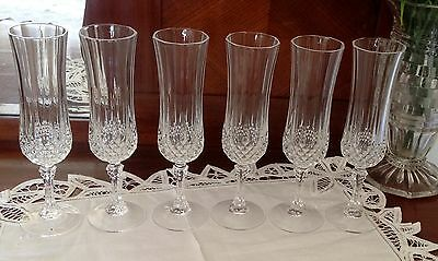 CRISTAL D'ARQUES 'France' LONGCHAMP  Set of 6 Champagne Glasses - As New