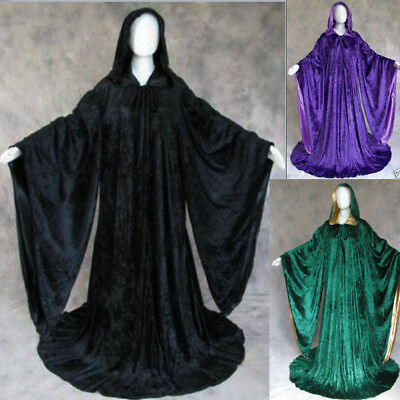 Hooded Velvet Wizard Cloak/Cape Men Halloween With Sleeves Robe Various colours