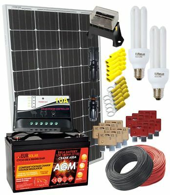 100W 12V Mono Solar Kit with AGM 100Ah Battery 10A Charger 15W CFL Electrical Ac