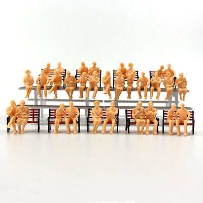 P4802B 48pcs All Seated  Figures O scale 1:48 Unpainted People Model Railway NEW