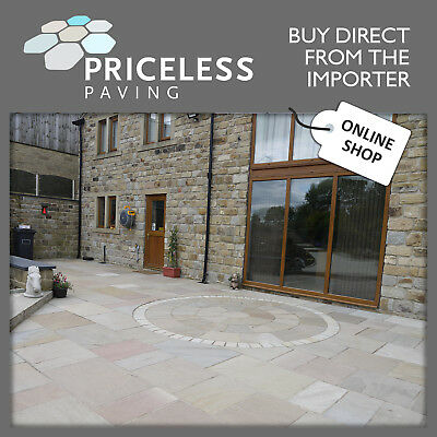 Indian Sandstone Calibrated 20mm. Raj Blend mixed size patio paving slabs flags