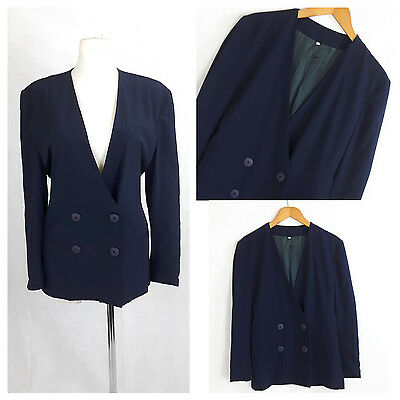 Vintage 80's  Jacket Women Navy Blue Long Fitted Double Breasted UK16 EU42
