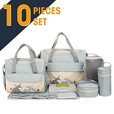 SOHO Collections, 10 Pieces Diaper Bag SetLimited time offer Gray with Rabbits