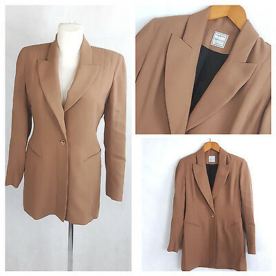 Vintage 80's Jacket Long Fitted One Button Tan Light Brown Wool UK12 EU38