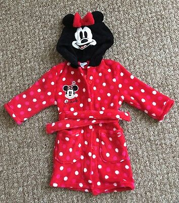 Girls Disney Minnie Mouse Dressing Gown 12-18 Months