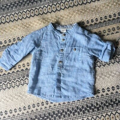H&M Baby Boy Blue Button Linen Cotton Shirt 4-6 Months