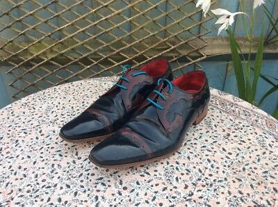 JEFFERY WEST - Scarface - Dark Blue-Burgundy - Leather - Lace Up Shoes - Size 10