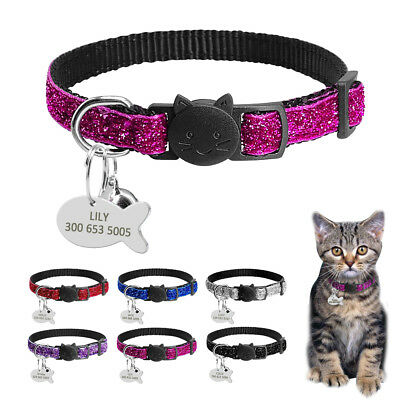Bling Sequins Breakaway Cat Collars with Personalised Dog Tags for Puppy Kitten