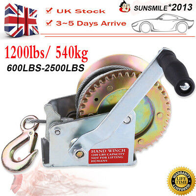 25000LBS 1200LBS Hand Winch 8M Steel Wire Cable 540KG Gear Crank Hook Trailer UK